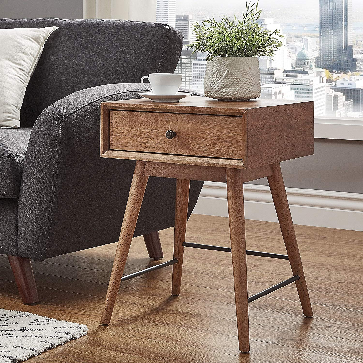 Contemporary Rectangle End Table, 1-Drawer, Mid-Century Modern Design, Crafted of Rubberwood, Metal, MDF and Veneer, Tapered Legs, Metal Drawer Glides, Bronze Drawer Pull Finish, Brown Wood Finish