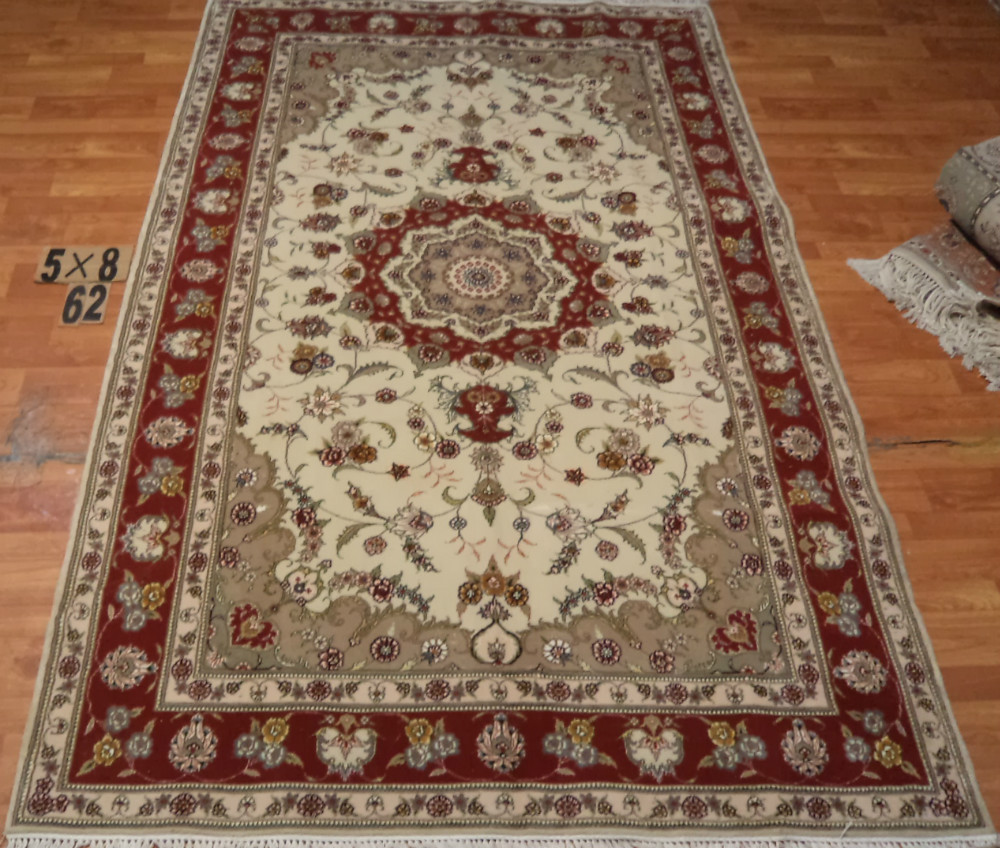 Living Room Persian Rug: 100% Handmade Silk And Wool Garden Carpet And Rugs 5x8