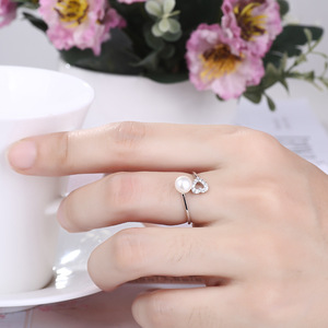 sterling silver unique heart zircon adjustable pearl ring settings