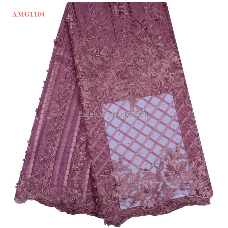 Burgundy Color 3d Flower Lace Tulle Fabric High Quality Beaded French Lace Fabric Wholesale Dubai French Lace For Wedding Party To Adopt Advanced Technology Home & Garden Apparel Sewing & Fabric
