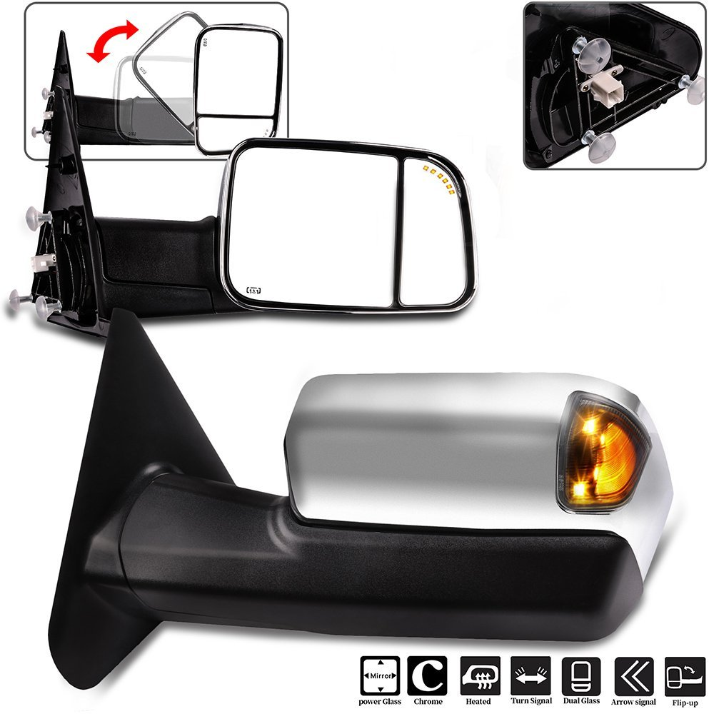 Towing Mirrors, ECCPP High Performance A Pair of Exterior Automotive Mirrors for Dodge Ram 1500 2500 3500 2002-2008 with Power Operation Heated Arrow Signal Manual Flip up Chrome Cover