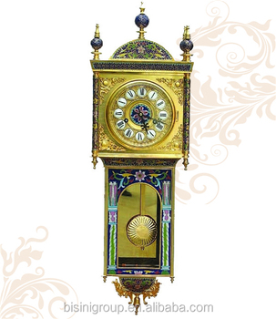 Luxury 24k Gold Plated Wall ClockCloisonne Enamel Pendulum Wall