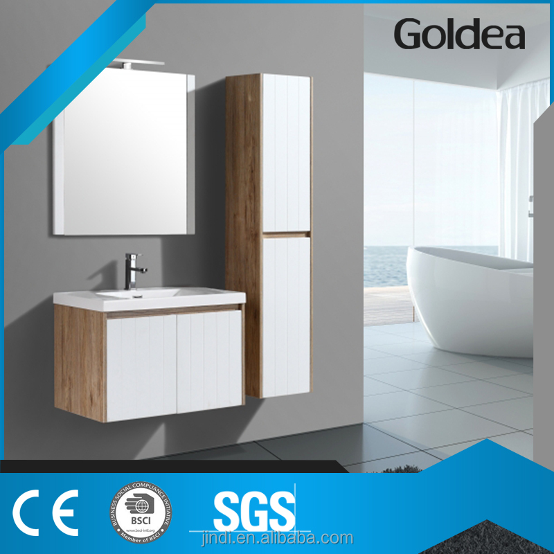 modern high quality wall-hung white and sonoma oak factory directly bathroom vanity