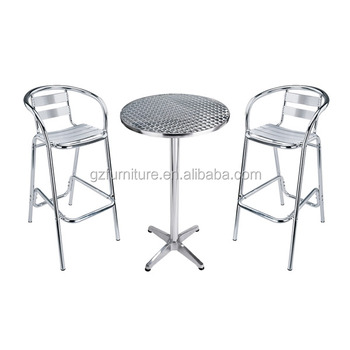Low Cost Aluminium Outdoor Bistro Dining Chairs / High Bar Stools Sets
