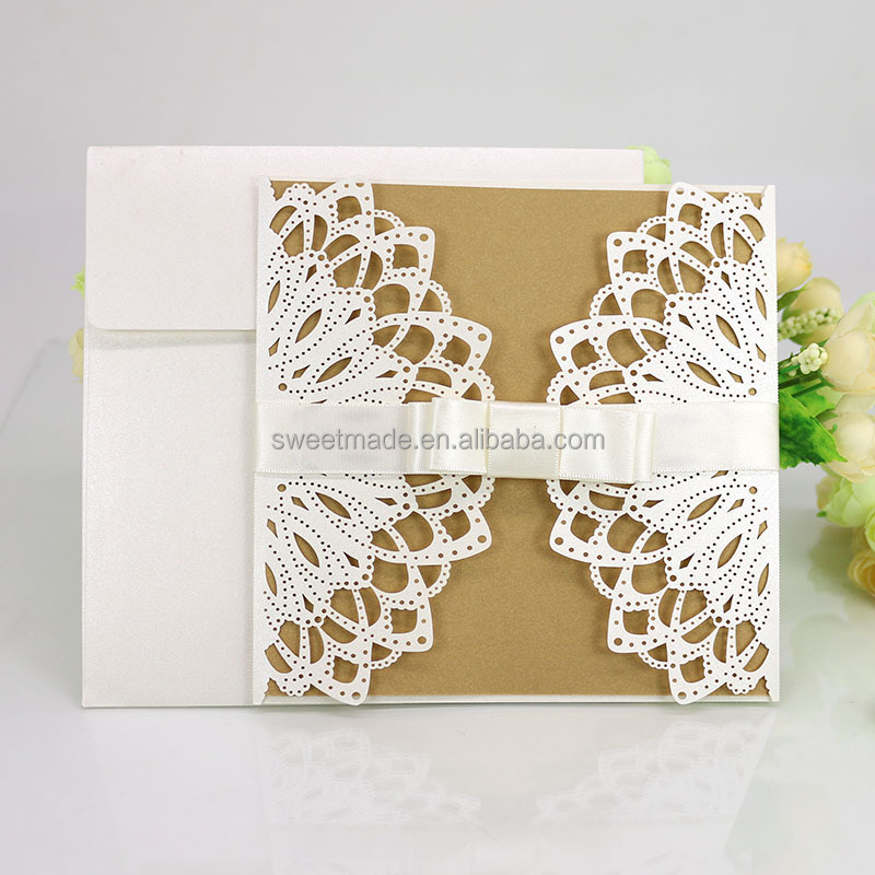 sweetmade cheap price wholesale laser cut folded paper craft wedding invitation cards in card printing