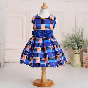 Fashion and popular Sleeveless lattice hit color cute children frocks