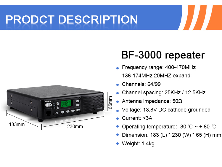 Hot sale Cost-effective Smart Analog Repeater,long range repeater  BF-3000 for two way radio
