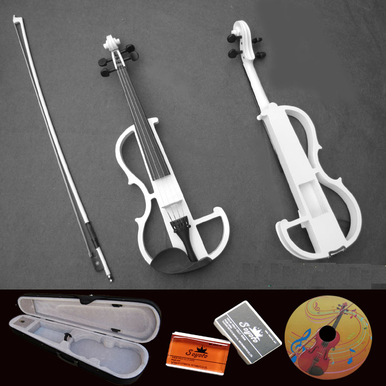 electric violin white professional electronic fiddle violino for sale send with headphone. Black Bedroom Furniture Sets. Home Design Ideas