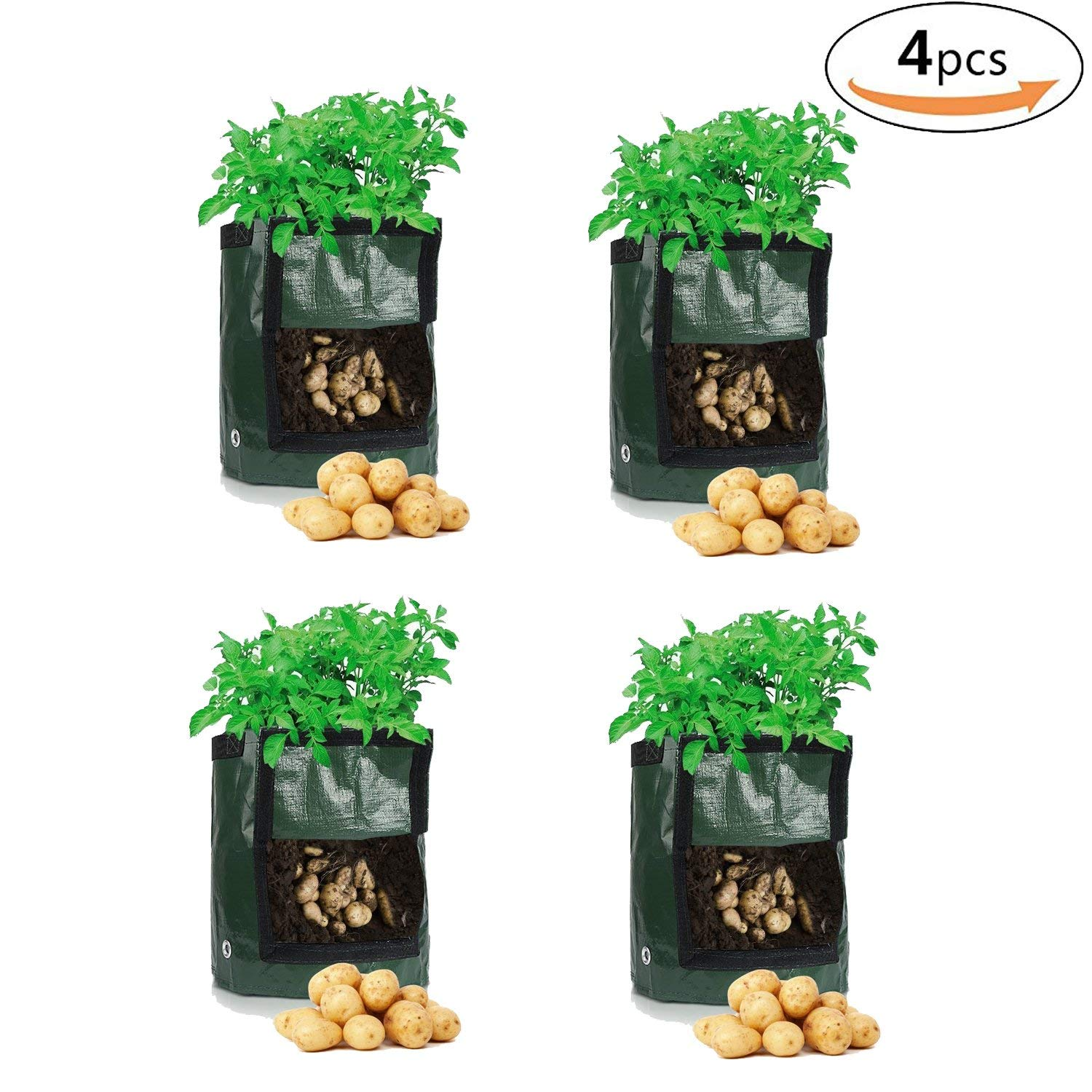 OUNONA 4pcs Potato Grow Bag Garden Durable 7 Gallon Vegetables Planter Bags with Access Flap and Handle,Raised Garden Bed for Planting Vegetables,Taro,Radish,Carrots,Onions(Green)