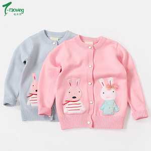 Children Clothing Baby Girls Knitted Cardigan Sweater Wear Kids 100% Cotton Outerwear Sweaters