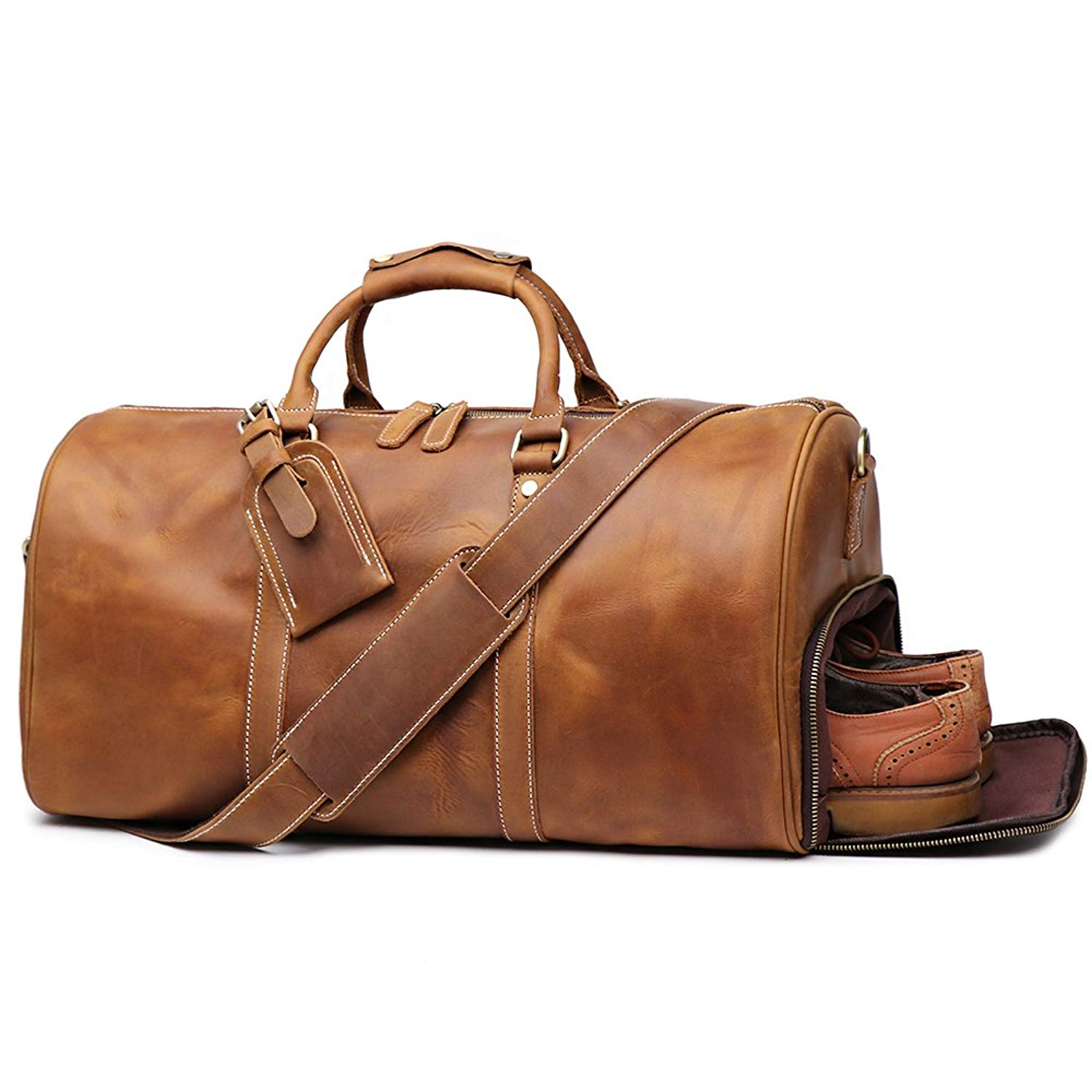 Get Quotations · LeatherFocus Leather Travel Luggage Bag c32fc85ab20fa