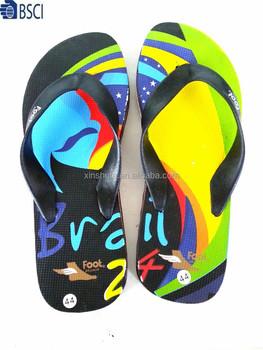 54f6991670a0 Fuzhou factory beach shoes summer OEM design printed PE slippers men flip  flops