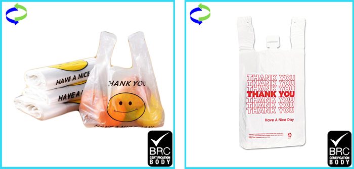 Eco Friendly Biodegradable Corn Starch & PLA  Shopping Bag/ Thank you T-shirt Bag/Carry Bag