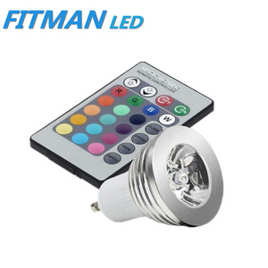 Cheap hot sell gu10 rgb 3W led spotlight 220V with remote control