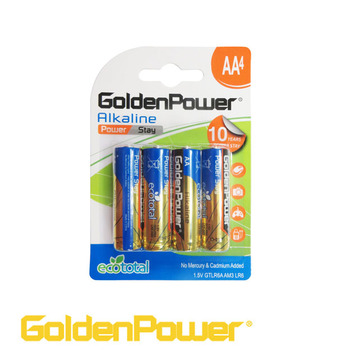 Golden Power Super high quality Alkaline AA Battery LR6 AM3 4PK 10 Years Shelf Life