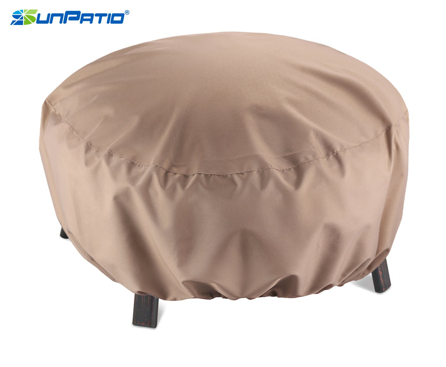 """SunPatio Outdoor Fire Pit Cover, Round Fire Bowl Cover, Kettle Ottoman Cover, 32""""Diax14""""H, Water Resistant, Lightweight, Eco-Friendly Furniture Cover with Adjustable Drawstring, Neutral Taupe"""