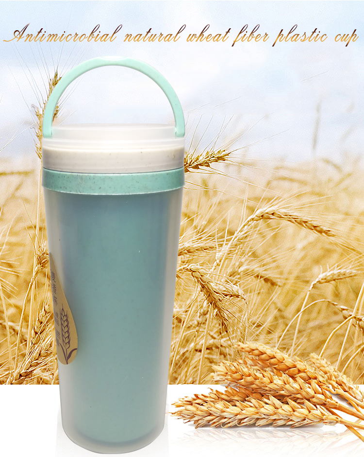 400 ml double-walled biodegradable wheat fiber green healthy heat-insulating wheat straw water bottle