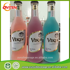 Transparent Frosted Glass Bottle 3.8% Alcoholic Various Flavors Cocktail Juice Drink