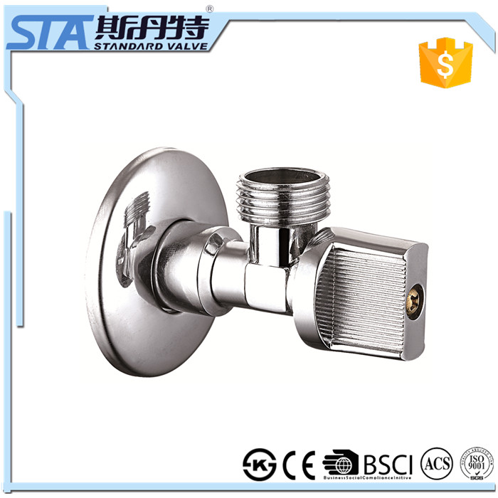 ART.3001 CE approved Brass Chrome Plating Toilet bathroom kitchen outdoor garden Water Stop Angle Valve in Yhuan STANDARD VALVE