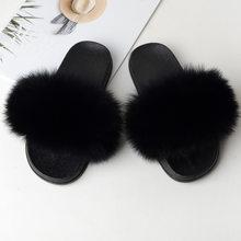 Женские пушистые шлепанцы, шлепанцы из натурального меха, домашняя обувь, большой размер, летняя обувь, 2019(Китай)