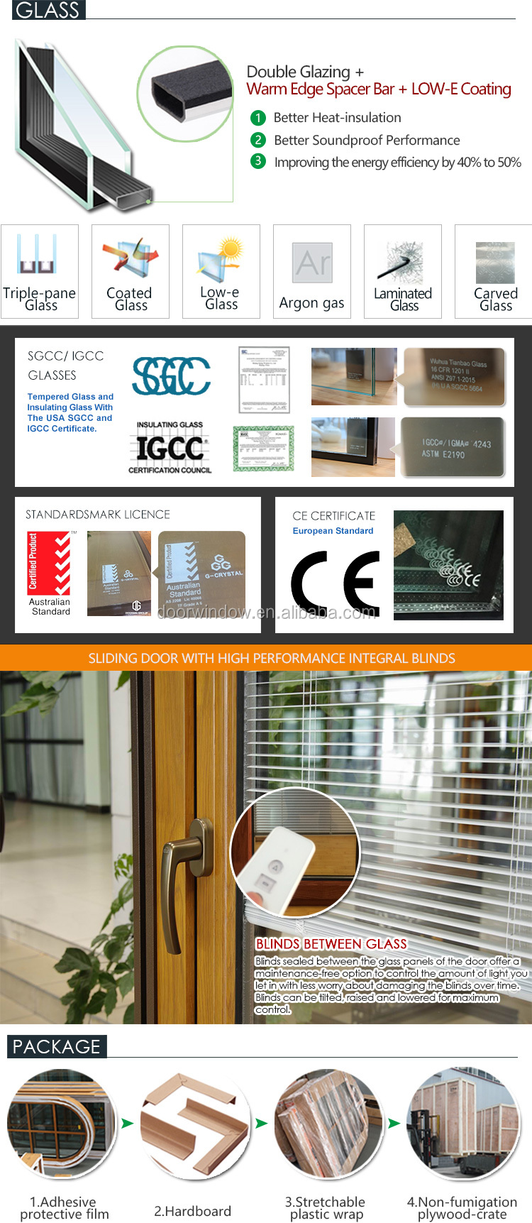 Aluminium framed sliding glass door diamond security casement