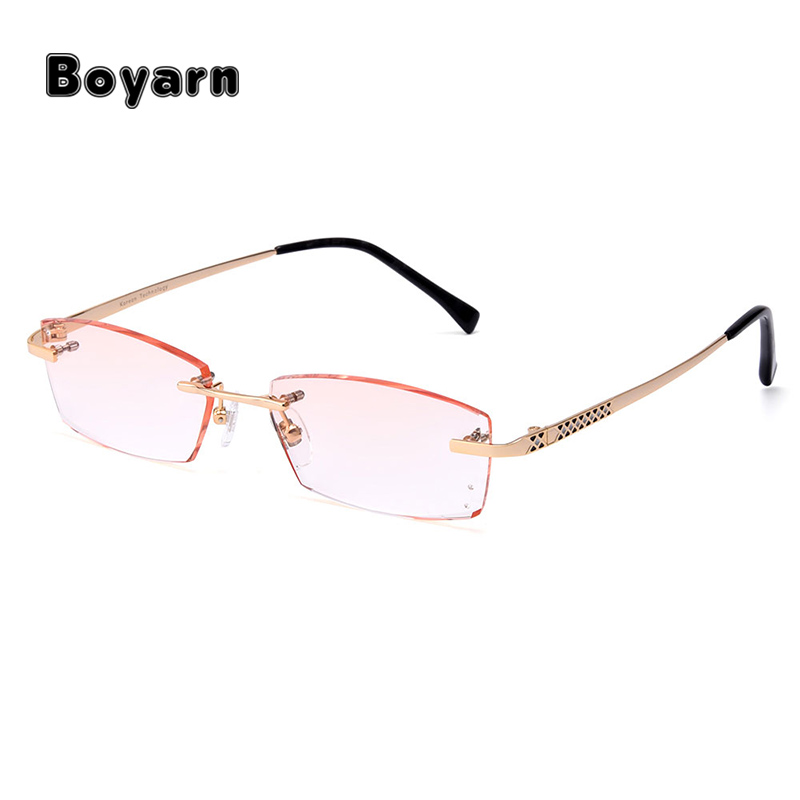 Luxuriant Diamond Trimming Cutting Rimless Eyeglasses Frame for Men Eyewear With None Diopters Optical Lenses Q5808