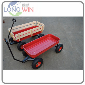 Big foot folding wooden side plastic frame pull rolling outdoor kids toy wagon