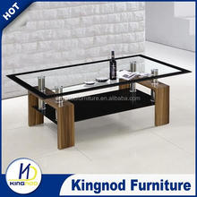 New design cheap modern white / black high gloss cafe table / glass coffee design with MDF wooden base