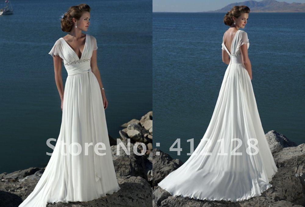 Beige Elegant V Neck Bridesmaid Dress: Be395 Hot Style Elegant V Neck Chiffon Beach Wedding
