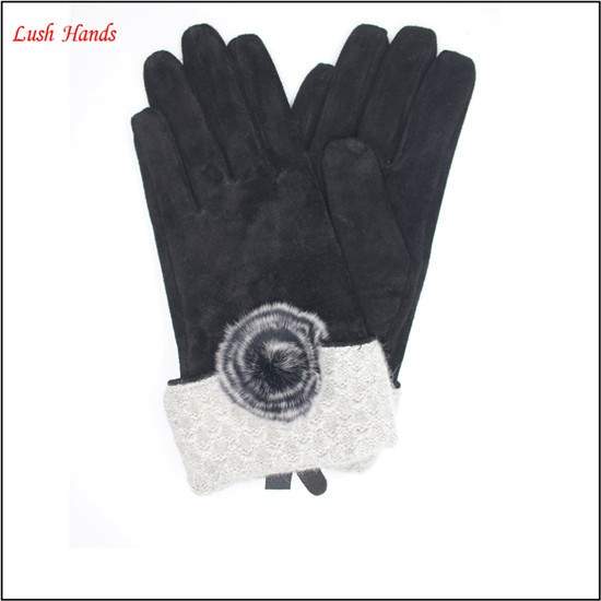 Fashion lady black pigsuede leather gloves with a fuzzy ball