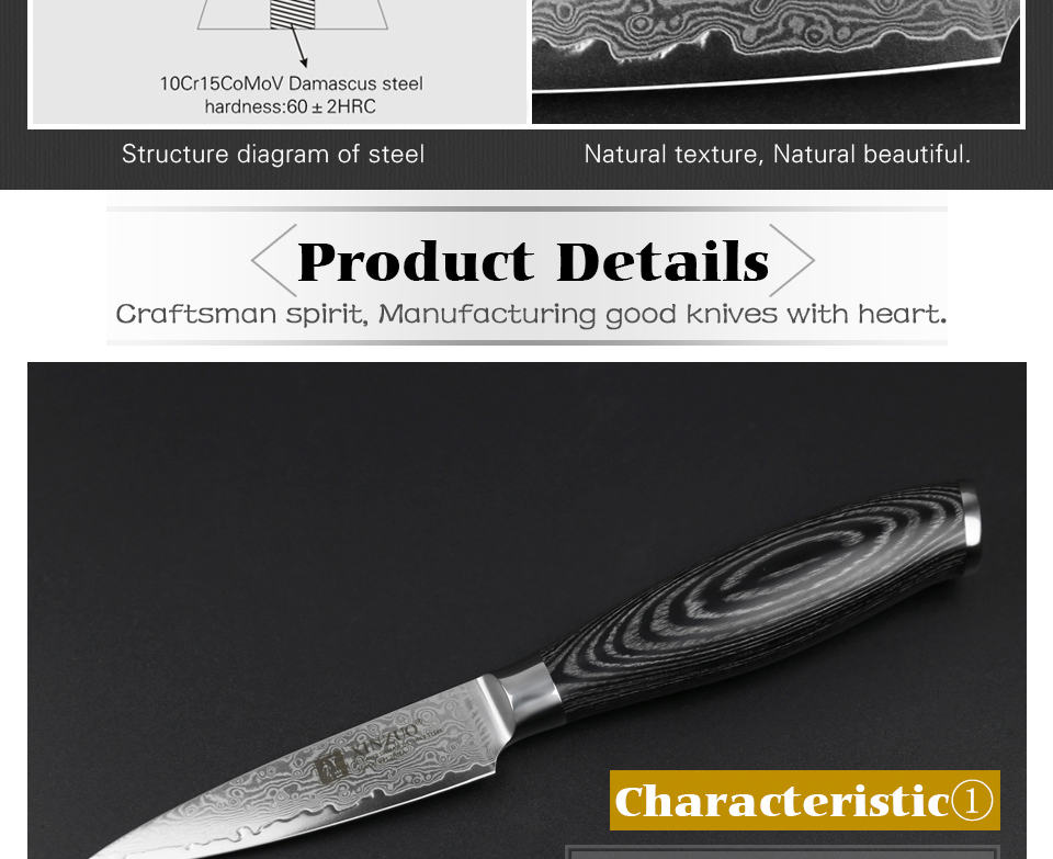 "HTB1guqhg46I8KJjy0Fgq6xXzVXaL - XINZUO 3.5"" inch Paring Knife 67 layers Japan Damascus Steel Peeling Fruit Knife"