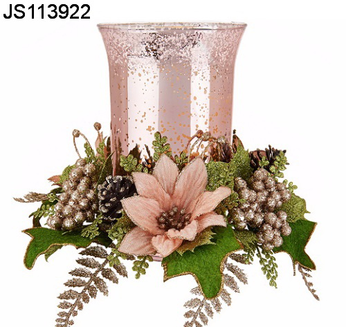 Christmas Candle Rings.Christmas Candle Rings With Glass Candle Holder And Flower Wreath For Taper Candles Buy Christmas Candle Rings Product On Alibaba Com