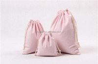 Cosmetic jewelry packaging party gift custom cotton drawstring wedding bags