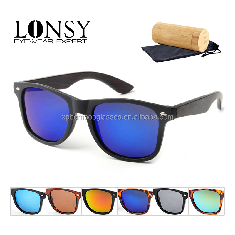 Promotion Cheap Price Matte Black PC Bamboo Wood Sunglasses Brand Your Own LS5003-C14