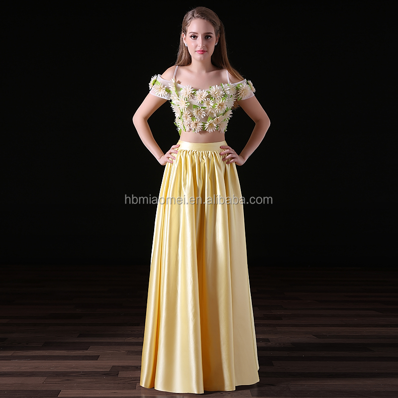 2017 Nueva Moda 2 Unids Set Color Amarillo Satinado Largo Vestidos De Dama Al Por Mayor Buy Largo De Dama De Honordama De Honor Vestidos2 Unids