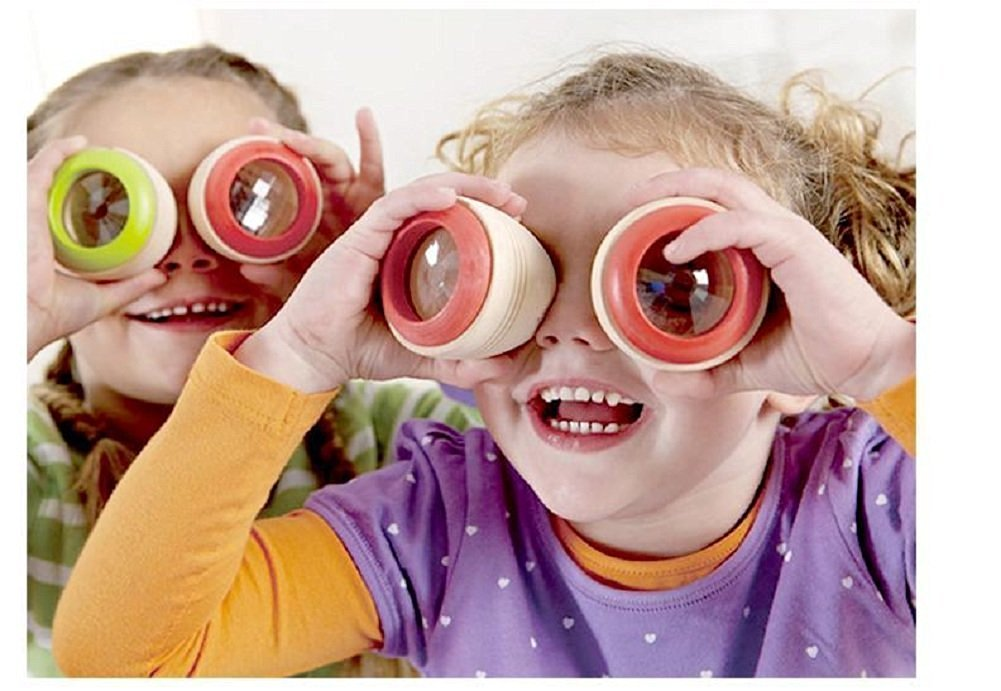 Kidcia 2 Pcs/set Magic Bee Eye Effect Kaleidoscope Funny Wooden Toy for Kids (Colors May Vary)