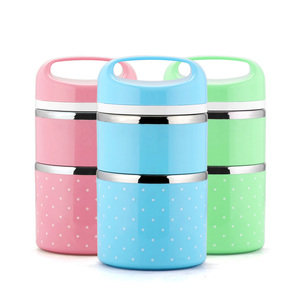 3 Layer Bento Lunch Box Portable Plastic Outside Stainless Steel Bento Lunch Box for Wholesale