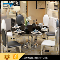 modern dining table base, glass dining table set, kitchen dining room table CT011
