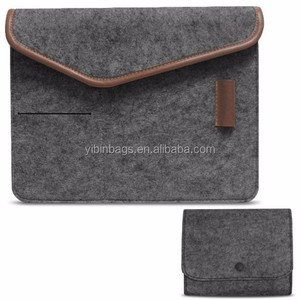 New products china Dual magnetic buttons Felt Portable 13.3 inch laptop bag