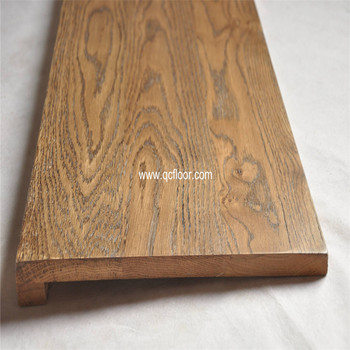Solid Oak Stair Tread With Square Edge Dark Walnut Color China Factory Price