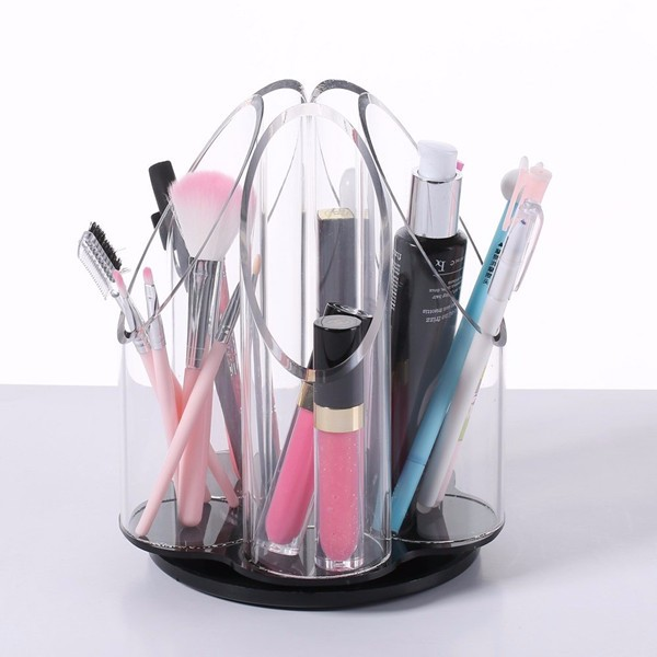 Deluxe 5 Section Beauty Organizer,Crystal Cosmetic Lipstick Display Stand,Acrylic Clear Makeup Drawer Organizer Storage Supplier