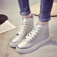 SAA6219 Korean style lace up high top flat ladies sneakers shoes