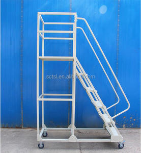 2.5M 3M Customized Warehouse Rolling Mobile Platform Ladder with Handrails in Ladder