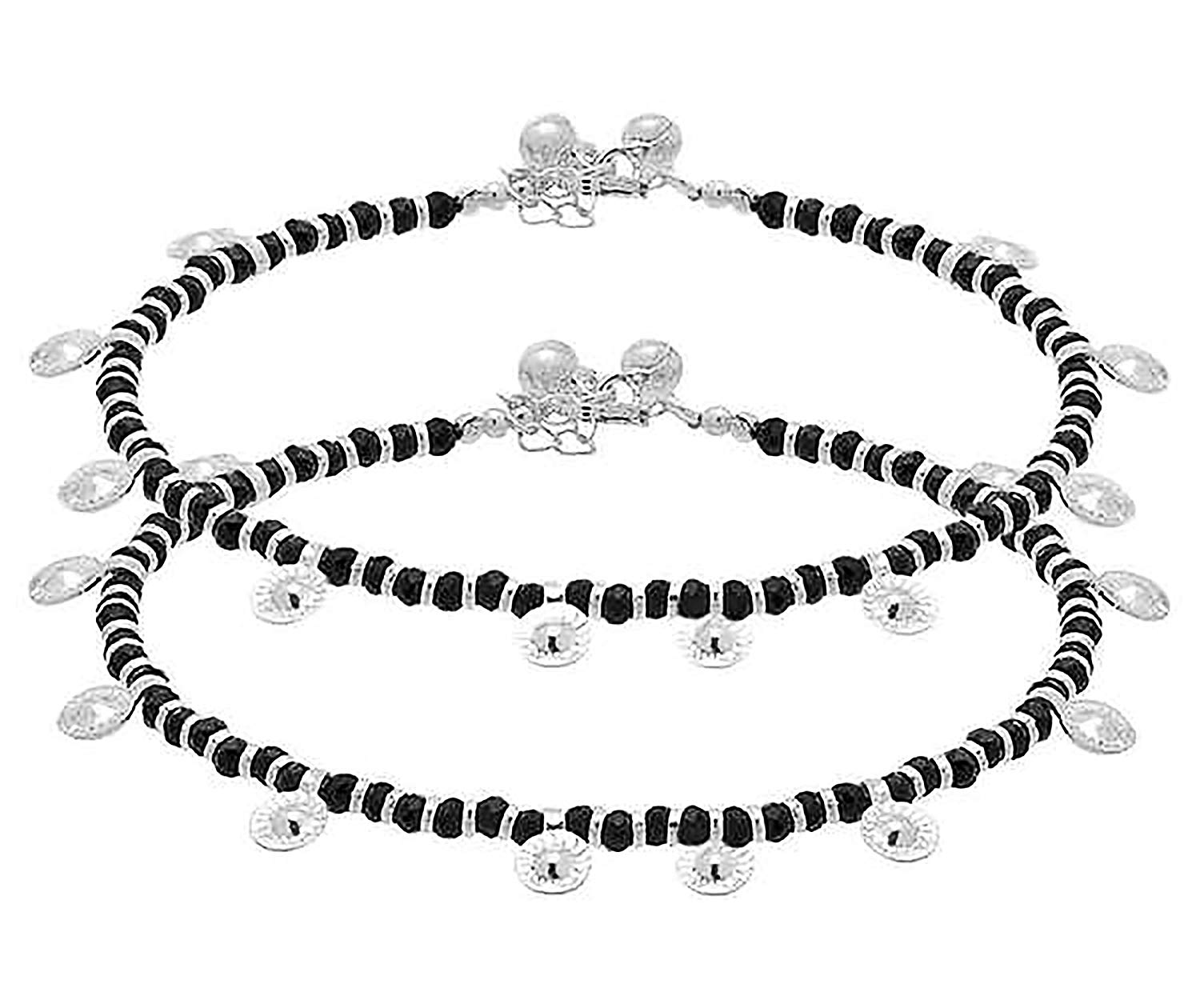 D&D Crafts BLACK BEADS STUDDED STERLING SILVER ANKLETS For Women, Girls