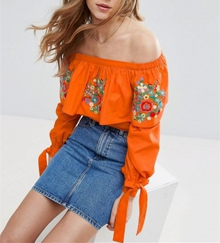 Factory Connection Clothing Cotton Mexican Embroidered Blouses Off