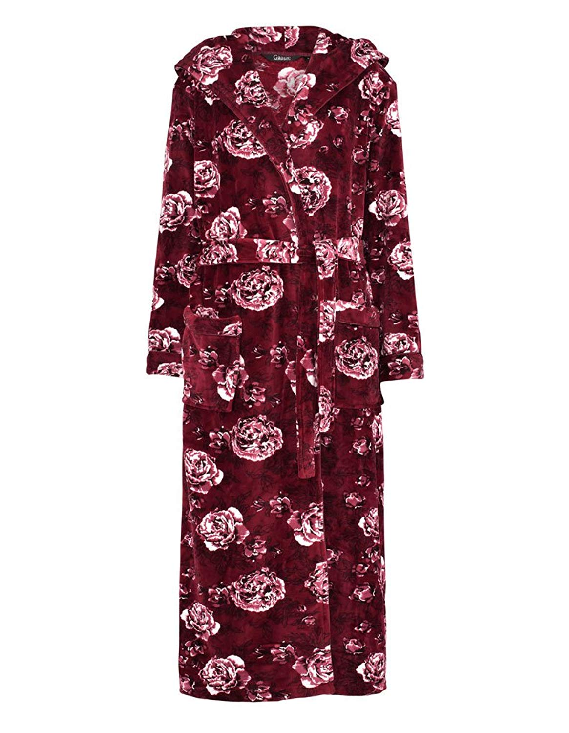 9a5f78d38709 Get Quotations · Slenderella GL8746 Women s Rasberry Red Floral Long Sleeve Dressing  Gown