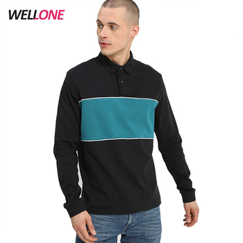 Wellone 100% heavy cotton cut and sew custom silk screen printing logo men rugby black and navy color combination polo shirt