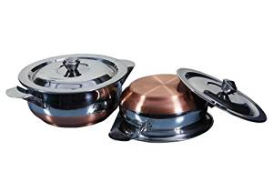 Copper Bottom Container Urli with Lid - 2 Pcs Set 750 ml - 1000ml S10-12 Kadai/Handi