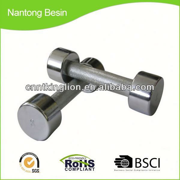 wholesale fixed chrome dumbbell with Knurled Handle