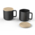 ceramic/porcelain matte black coffee cup with wooden lid